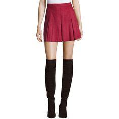 Alice + Olivia Lee Pleated Suede Mini Skirt (£715) ❤ liked on Polyvore featuring skirts, mini skirts, burgundy, suede skirt, suede a line mini skirt, box pleat skirt, pleated mini skirt and a-line skirts