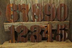 Rustic Wood Valentine Sign, Varnished Wood Floor Tile, Varnished Wood Wall Tile, Rusty Tin Numbers