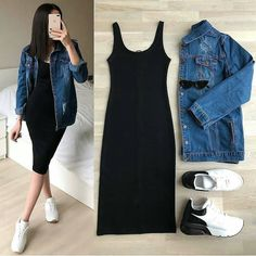 *Pick any -😍😍* Combo of dress and denim jacket 😍😍💕💕.*Pick any -😍😍* Combo of dress and denim jacket 😍😍💕💕 Price - Size till xl Fabric- pure knitted dress+denim jckt *Beware of low quality combos* Teen Fashion Outfits, Look Fashion, Skirt Fashion, Girl Outfits, Fashion Dresses, Womens Fashion, Fashion Moda, Cute Casual Outfits, Stylish Outfits