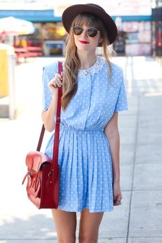 Blue polka dot vintage dress #Vintage #Blue #Dress