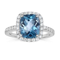 14k White Gold London Topaz and 1/2ct TDW Diamond Ring