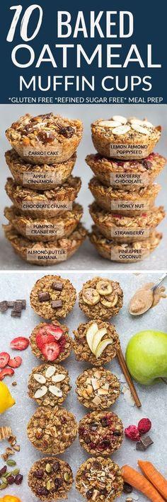 Baked oatmeal cups – Refined sugar free, gluten free & vegan. ALMOND BUTTER BANANA, APPLE CINNAMON, CARROT CAKE, CHOCOLATE CHUNK, HONEY NUT, LEMON POPPYSEED, PINEAPPLE COCONUT, PUMPKIN CRANBERRY, RASPBERRY CHOCOLATE & STRAWBERRY Receta Muffins, Raspberry Oat Muffins, Apple Oatmeal Muffins, Vegan Oatmeal Cookies, Apple Cinnamon Oatmeal, Cinnamon Cake, Pumpkin Oatmeal, Strawberry Breakfast, Baked Oats