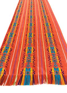 Mexican Fabric Table Runner - Bright orange