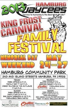 King Frost Carnival - Hamburg, PA - May 24-27 (Memorial Day Weekend)
