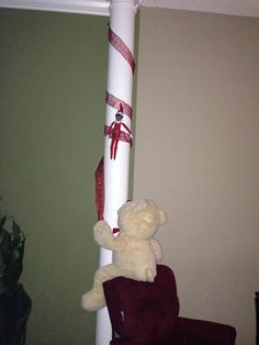 Sherman got a little wrapped up while he and Teddy were trying to decorate our column.