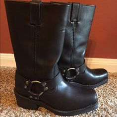 Leather Harley Davidson Black Motorcycle Boots Black Harley Davidson Boots. Leather. Womens. Worn once. Harley Davidson Shoes Combat & Moto Boots