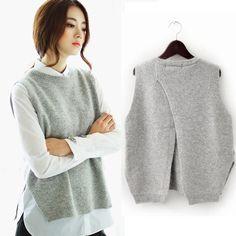 2015 봄 느슨한 큰 야드 여성 헤지 스웨터 조끼 스웨터 조끼 라운드 넥 울 조끼 조끼 재킷