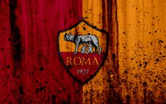Download wallpapers AS Roma, 4k, logo, Serie A, stone texture, Roma, grunge, soccer, football club, Roma FC