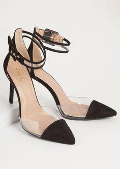 937ac03357c Orange Faux Suede Buckled Clear Strap Stiletto Heels