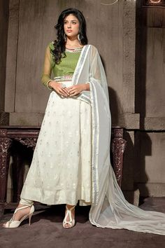 d0d5fa78fea Online Shopping of Stunning Off White Color Embroidered Anarkali Suit from  SareesBazaar