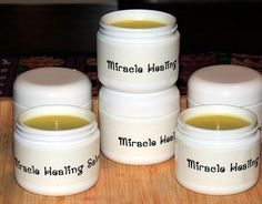 Miracle Healing Salve – The Recipe Ingredients: 1 c Coconut Oil 1 c Extra Virgin Olive Oil 5 T Organic Beeswax To each 2 ounce jar add: (double if you are using 4 ounce Mason jars) 5 drops Lavender essential oil 5 drops Rosemary essential oil 5 drops Peppermint essential oil a few drops of Vitamin E (optional)