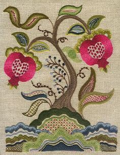 Pomegranate tree sampler crewel embroidery Pattern, instructions & wool only Bordado Jacobean, Jacobean Embroidery, Learn Embroidery, Cross Stitch Embroidery, Hand Embroidery, Machine Embroidery, Embroidery Designs, The Wooly, Art Plastique