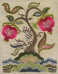 The Pomegranate Tree Sampler | Source: T A L L I A F E R R O original crewel designs | #pomegranates #embroidery #crewel