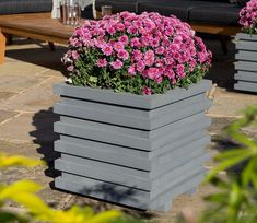 Freeport Park The Tyson Wooden Planter Box is a contemporary design pre-painted in a grey finish. The planter comes pre-assembled with a removable plastic liner for ease of use. Planter Box Designs, Planters For Sale, Garden Planter Boxes, Wooden Planters, Outdoor Planters, Wooden Garden, Square Planters, Raised Planter, Thing 1