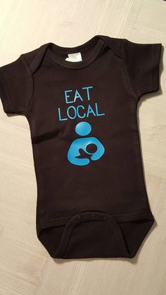 4362d39cd Black EAT LOCAL onesie with blue graphic by CountryCreationsMN on Etsy  Black One Piece, One