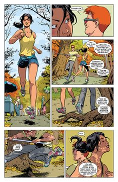 """Comics Alliance columnist Janelle Asselin gives props to """"Daredevil"""" artist Javier Rodriguez (and even letterer Joe Caramagna) for a comic that looks just right (not too shabby: writer Mark Waid). Scene: Matt and temp partner Kirsten """"exchange legal briefs"""" while jogging in Central Park."""