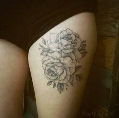 Blackwork roses on thigh by Caitlin Art