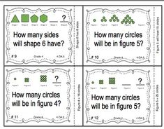 Common Core Math Task Cards - Identifying Patterns and Rules CCSS Math Patterns, Shape Patterns, 4th Grade Math, Grade 1, Math Task Cards, Math Numbers, Common Core Math, Math Stations, Numeracy