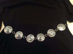 Ladies Adjustable Nickel Silver Concho Belt with Faux Turquoise C. 1960's