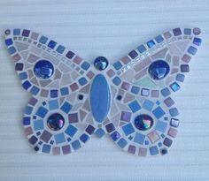 Items similar to Mosaic Butterfly Wall Plaque / Art in shades of Pink and Blue on Etsy Mosaic Tray, Mosaic Tile Art, Mosaic Pots, Mosaic Artwork, Mosaic Crafts, Mosaic Projects, Mosaic Glass, Pebble Mosaic, Stained Glass