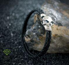Skull Leather Bracelet,Sterling Silver Bracelet de Dcastjoyas en Etsy