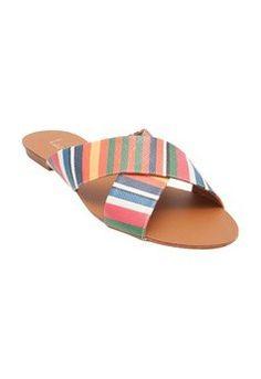 Sandália rasteira color listras - laranja