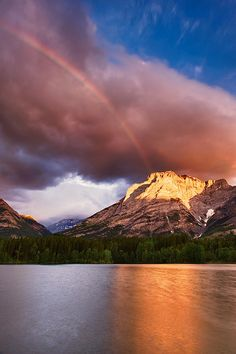 Wedge Pond Rainbow, Alberta, Canada