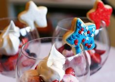 Patriotic sundaes with adorable star-shaped cookies!