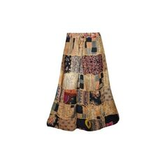 Mogul Artistically Inspired Patchwork Long Skirt Vintage Look Printed... ($24) ❤ liked on Polyvore featuring skirts, floor length skirt, brown maxi skirt, bohemian maxi skirt, long brown skirt and brown a line skirt