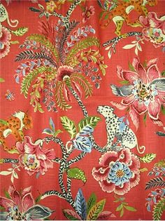 """Braganza Spice -  Colonial Williamsburg Fabric – Traditional tropical floral fabric printed on 55% linen-45% rayon.. Perfect for window treatments, furniture upholstery, bedding, pillow covers or headboards. Repeat; V 25.25"""" x H 13.5"""". Durable 27,000 double rubs. 54"""" wide."""