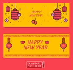 2 mẫu băng rôn mừng tết cổ truyền Á Đông new year banners vector 5905 Chinese New Year Design, Happy Chinese New Year, Happy New Year Download, New Year Banner, Happy 2017, Banner Vector, Vector Free, News