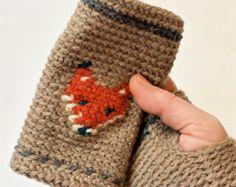 Mitones sin dedos, guantes sin dedos, guantes de ganchillo para mujer zorro, guantes, wristwarmers hechos a mano