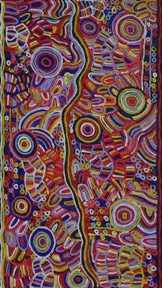 Australian Aboriginal Art Painting by BETTY MBITJANA - Awelye and Bush Melon - 171 x 96 cm - 2017 -  BM1935 #artwork #canvas #australia