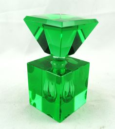 FREE SHIPPING SALE 1930's 1930s Vintage Hand Cut Irice Made in Japan Green Emerald Art Glass Perfume Bottle.