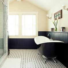 Vintage tile floors are absolutely gorgeous as their small mosaics remind  you of the bathrooms of yesterday.