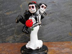 Day of the Dead WEDDING CAKE TOPPER  Funny Couple by dnacreations, $40.00