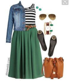 Amei esse look!!!! E nem curto verde mas curti essa cor de saia!