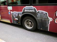 shibuya, Detail of a Yodobashi Camera bus advertisement