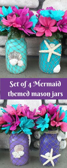 Set of 4 mermaid themed mason jars. Great party decor or decor for bathroom  or beach house #ad