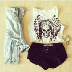 Black shorts, cute silver watch, jean cardigan, and white tribal skull tank