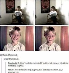 Harry Potter. Tom Felton. Draco Malfoy. Behind the scenes. Laughing.
