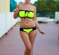 Neon Yellow Bikini Sexy Bathing Suit DDD Plus Swimwear by AncyShop