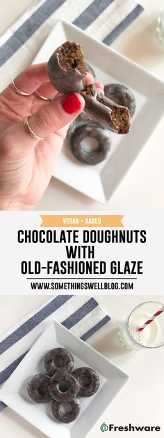 Vegan, Baked, Chocolate Doughnuts with Old Fashioned Glaze from Something Swell Media // Check out these killer donuts that are also vegan and baked! Click through for details! Delicous Desserts, Vegan Desserts, Vegan Treats, Vegan Snacks, Healthy Donuts, Vegan Doughnuts, Chocolate Doughnut Glaze, Raw Vegan Recipes, Veg Recipes
