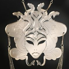Pendant size: x Hand assembled, lovingly made from reflective acrylic and silver plated chain. for more images please see Greed, Medusa, Akira, Handcrafted Jewelry, Jewelry Crafts, Silver Plate, Plating, Pendants, Jewellery