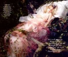 Dakota Fanning as Sleeping Beauty by photographer/fashion designer Karl Lagerfeld for Vanity Fair.