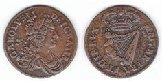 Armstrong and Legge's Regal Coinage 1681 Halfpenny of 12 Strings, S.6574.   Laureate and draped bust rt. of Charles II, medium lettered legend around CAROLVSII   DEIGRATIA, with no pellets.   Rev. crowned harp of 12 strings divides date 16  81, medium lettered legend around  MAG.BR.FRA.ET.HIB.REX, with pellets in legends at mid level.   X well clear of first 1;  8 very close to harp;  a pronounced die spike from the stand of the T in ET to the outer right crossbar.  Extremely Fine Harp, Legends, Lettering, Medium, Drawing Letters, Medium Long Hairstyles, Brush Lettering