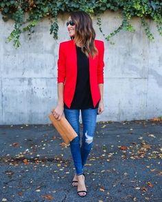 47 Cute Red Blazer Outfit Ideas With Jeans 47 süße rote Blazer Outfit Ideen mit Jeans Look Blazer, Blazer With Jeans, Denim Jeans, Blazer Outfits Casual, Business Casual Outfits, Outfit With Blazer, Work Fashion, Urban Fashion, Fashion Outfits