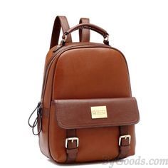 <3 Super Cute Vintage Brown Leather Fashion Backpack with Golden Buckle <3