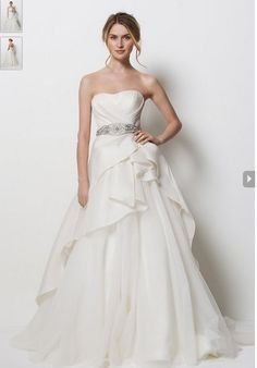 Satin/ Organza Wedding Gown with Strapless and Waistband A-line Design