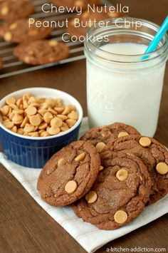 Chewy Nutella Peanut Butter Chip Cookies from www.a-kitchen-addiction.com